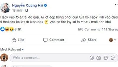 Facebook của cầu thủ Quang Hảibị hacker xâm nhập