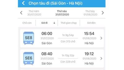 Từ 15/7, đường sắt bán vé tàu qua app điện thoại