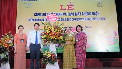 Học viện Phụ nữ Việt Nam đạt tiêu chuẩn kiểm định chất lượng