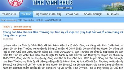 Dính hàng loạt sai phạm, Bí thư và Chủ tịch UBND huyện Sông Lô bị cảnh cáo