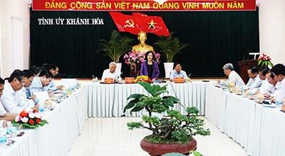 Trưởng ban Dân vận Trung ương Trương Thị Mai làm việc tại Khánh Hòa