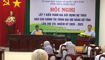 Mặt trận Thừa Thiên - Huế: Góp ý kiến Dự thảo Báo cáo chính trị trình Đại hội đảng bộ tỉnh