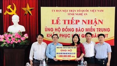 Nghệ An: Hơn 34 tỷ đồng ủng hộ người dân miền Trung