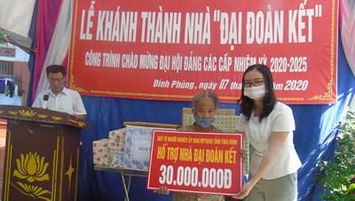 Mặt trận Thái Bình trao tặng 2 nhà Đại đoàn kết cho hộ nghèo