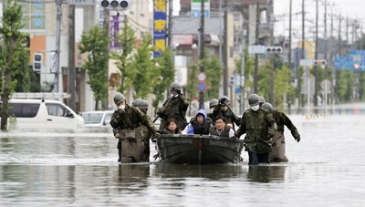 Nhật Bản cảnh báo mưa lớn ở các vùng ngập lụt