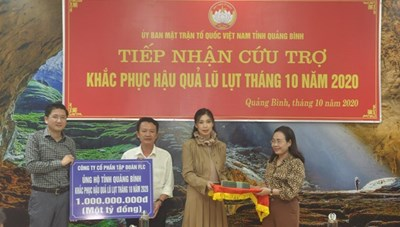 BẢN TIN MẶT TRẬN: Mặt trận tỉnh Quảng Bình tiếp nhận 4 tỷ đồng ủng hộ lũ lụt