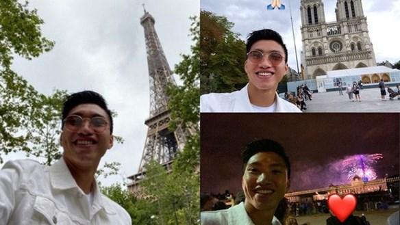 Đoàn Văn Hậu du lịch Paris trước ngày về nước