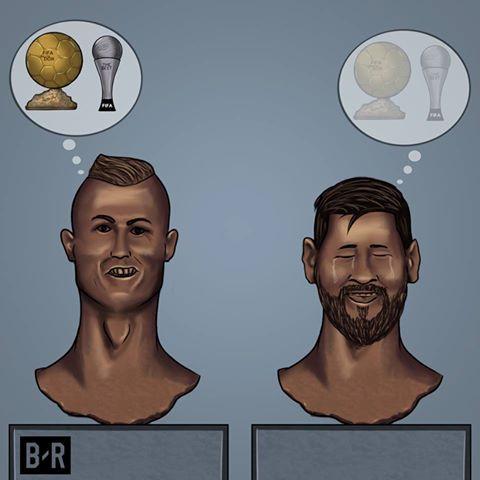 Biếm Họa 24h Messi Khoc Rong Ronaldo Hả He Với Bong Vang
