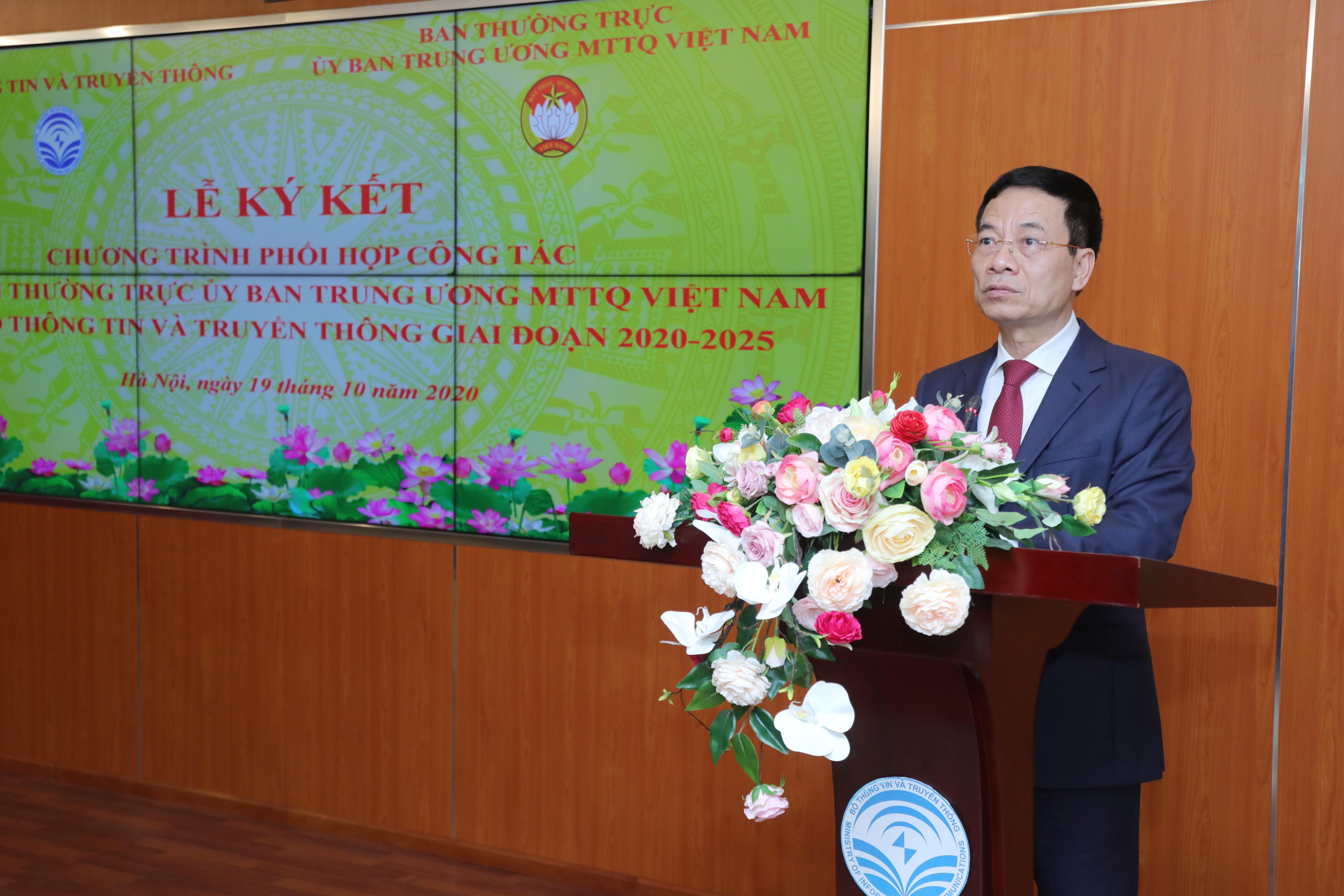 Bộ trưởng Bộ TT&TT Nguyễn Mạnh Hùng phát biểu tại buổi lễ.Ảnh: Quang Vinh.
