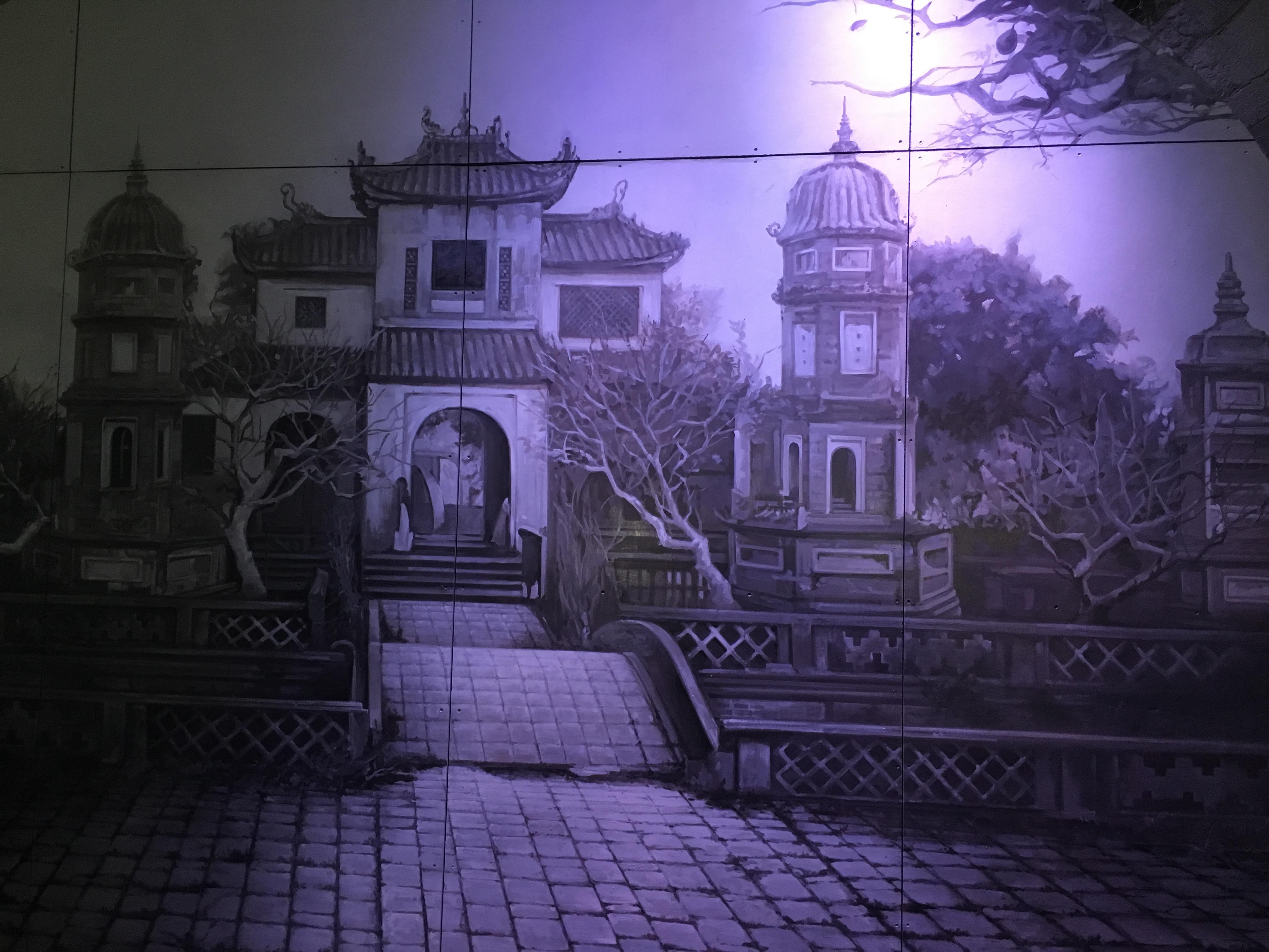 Hình ảnh vẽ lại chùa Báo Ân đã bị phá ở phố Phùng Hưng.