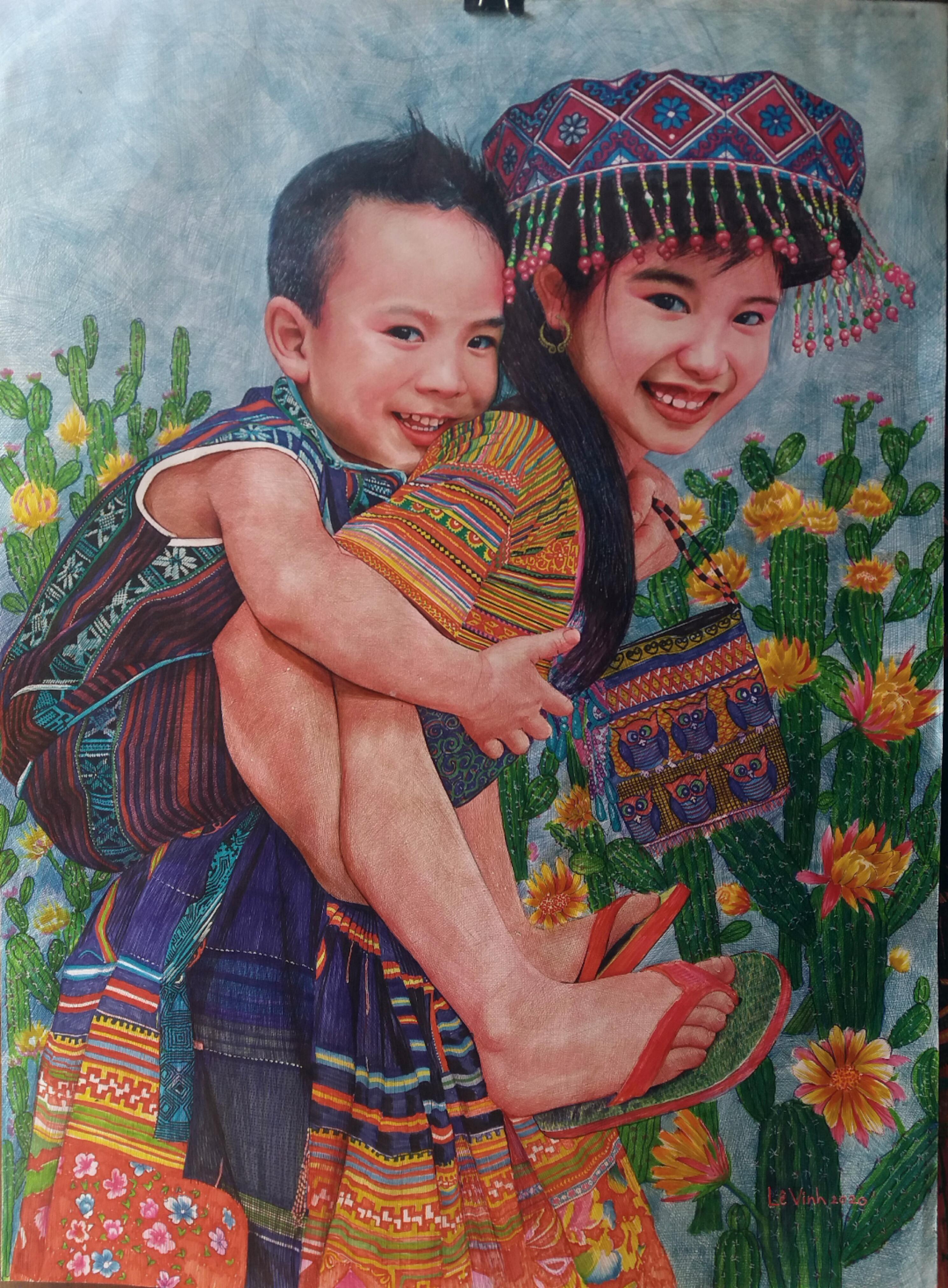 Một số tác phẩm tranh khổ lớn bằng bút bi của Lê Vinh.