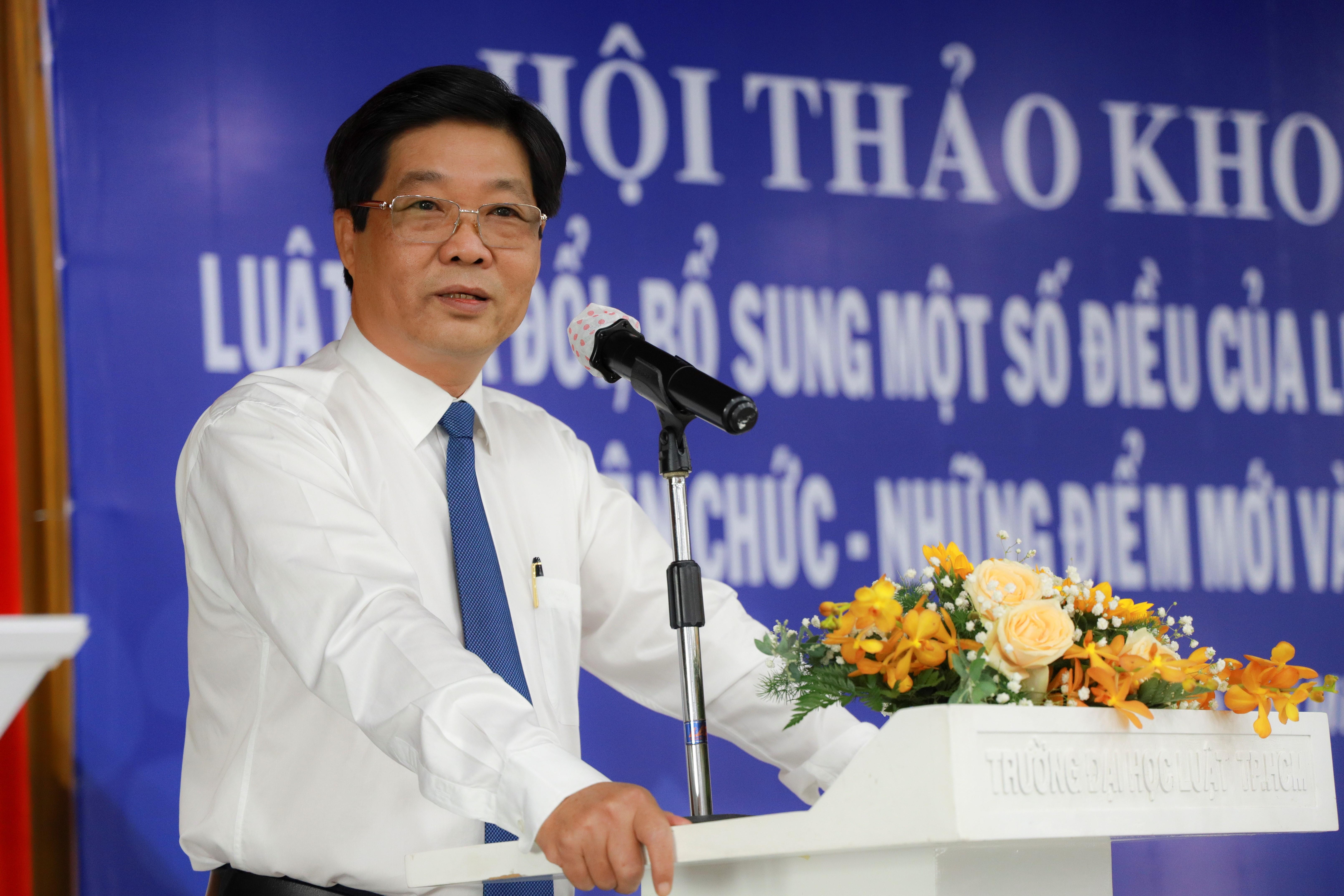 PGS.TS Trần Hoàng Hải, Phó Hiệu trưởng phụ trách trường ĐH Luật TP HCM phát biểu khai mạc tại Hội thảo.