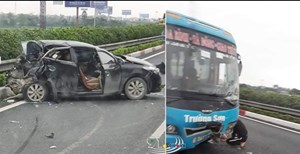 Xe khách tông bẹp xe con trên Cao tốc Pháp Vân - Cầu Giẽ