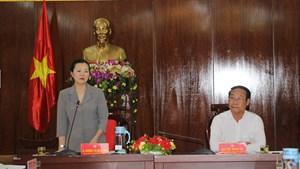 Phó Chủ tịch Trương Thị Ngọc Ánh kiểm tra việc lấy ý kiến người dân về xây dựng NTM ở Quảng Nam