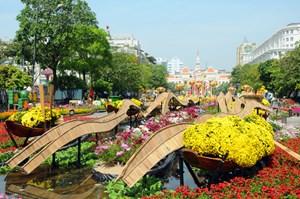 Phân luồng giao thông phục vụ thi công Đường hoa Nguyễn Huệ 2020