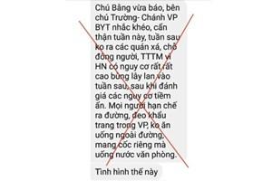 Cảnh báo dịch Covid-19 bùng phát tại Hà Nội của 'ông chú ở Bộ Y tế' là tin giả