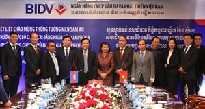 Phó Thủ tướng Chính phủ Hoàng gia Campuchia Men Sam Anthăm và làm việc tại BIDV