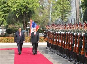 Tổng Bí thư, Chủ tịch CHDCND Lào đón, hội đàm với Tổng Bí thư, Chủ tịch nước Nguyễn Phú Trọng