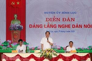 Bình Lục (Hà Nam): Tổ chức diễn đàn 'Đảng lắng nghe dân nói'