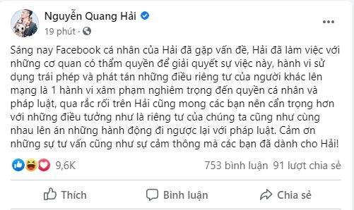 Facebook của cầu thủ Quang Hảibị hacker xâm nhập - Ảnh 1