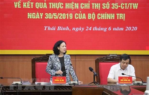Bà Trương Thị Mai, Ủy viên Bộ Chính trị, Bí thư Trung ương Đảng, Trưởng Ban Dân vận Trung ương kết luận buổi làm việc. (Ảnh: TTXVN).