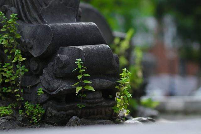 Phía dưới là 8 con rồng đá được chạm khắc rất tinh xảo, đang chầu hướng về 4 chân trụ đá, thể hiện sức mạnh và sự uy nghiêm.
