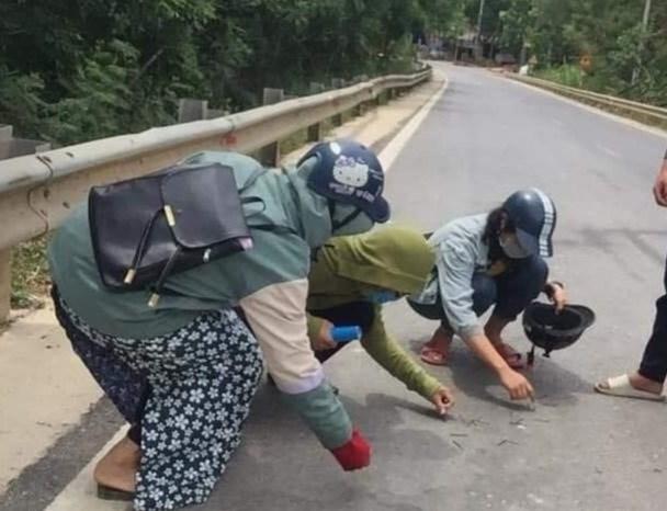 Hình ảnh các em học sinh nhặt đinh vương vãi trên đường.