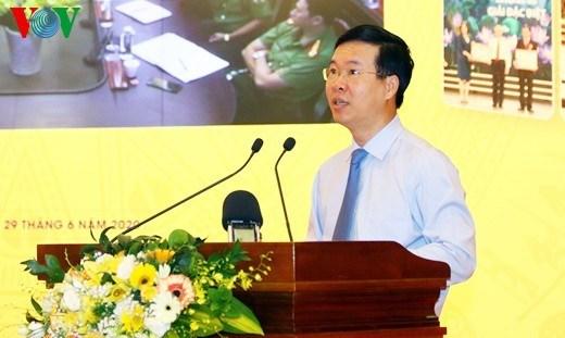 Trưởng ban Tuyên giáo Trung ương Võ Văn Thưởng phát biểu tại hội thảo. Ảnh: VOV.