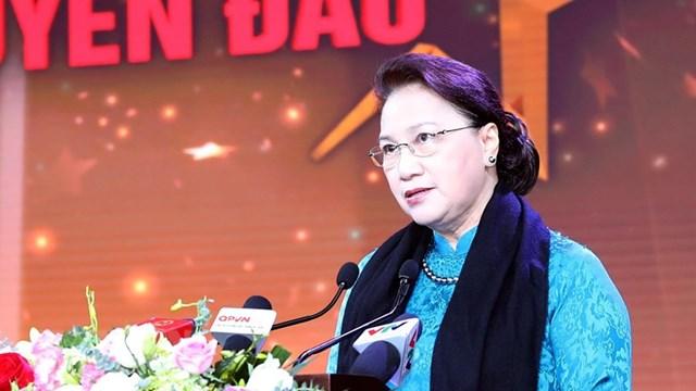 Chủ tịch Quốc hội Nguyễn Thị Kim Ngân phát biểu tại chương trình. Ảnh: TTXVN.