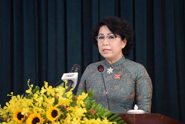 Bà Tô Thị Bích Châu, chủ tịch Ủy ban MTTQ Việt Nam TP.HCM, phát biểu tại hội nghị - Ảnh: TỰ TRUNG.