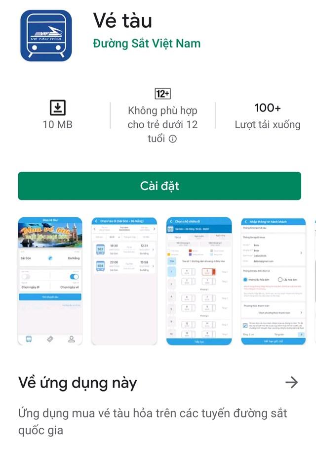 App bán vé tàu trên điện thoại thông minh.