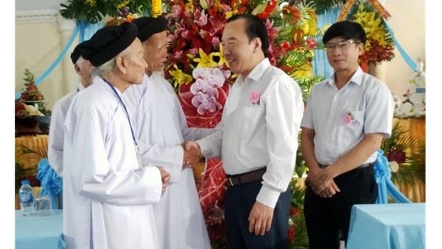 Phó Chủ tịch Ngô Sách Thực thăm Hội Thánh Cao Đài Ban Chỉnh Đạo, chúc mừng Đại lễ sinh nhật Đức Giáo tông Nguyễn Ngọc Tương lần thứ 139.