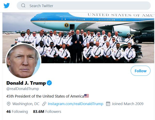 Với hơn 83,6 triệu người theo dõi, tài khoản của Tổng thống Trump bình an vô sự trong vụ tấn công nhằm vào Twitter.
