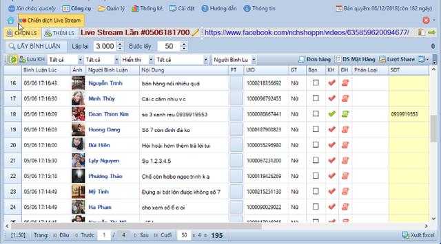 Phần mềm mà nhóm đối tượng tại Lào Cai sử dụng để chốt đơn trên livestream.