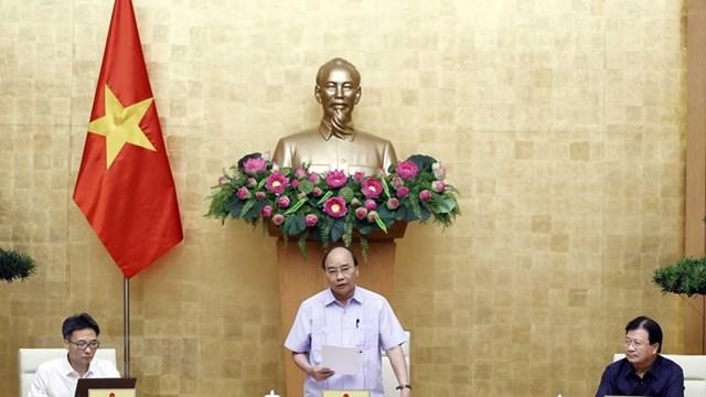 Thủ tướng Nguyễn Xuân Phúc phát biểu tại phiên họp. (Ảnh: Thống Nhất/TTXVN).