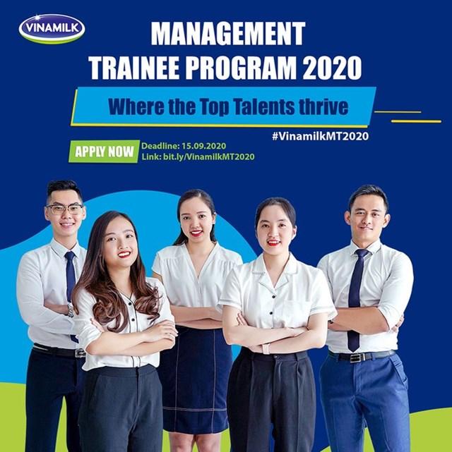 """Chương trình """"Quản trị viên tập sự Vinamilk 2020"""" sẽ chính thức khởi động từ ngày 1.8.2020 và hạn chót nhận hồ sơ ứng tuyển là 15/9/2020."""