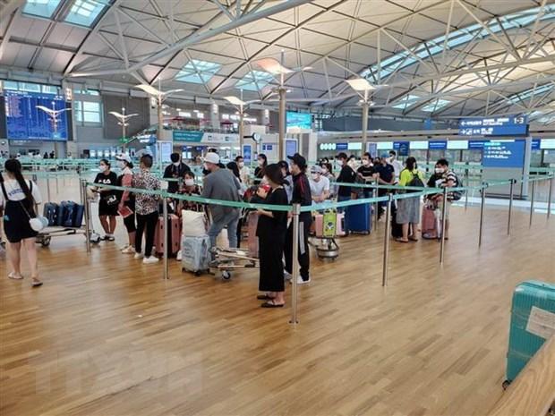 Công dân Việt Nam làm thủ tục lên máy bay trở về nước. (Ảnh minh họa. TTXVN phát).