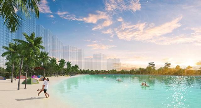 Hồ điều hòa rộng 4,8ha với bãi cát nhân tạo và làn nước trong xanh.