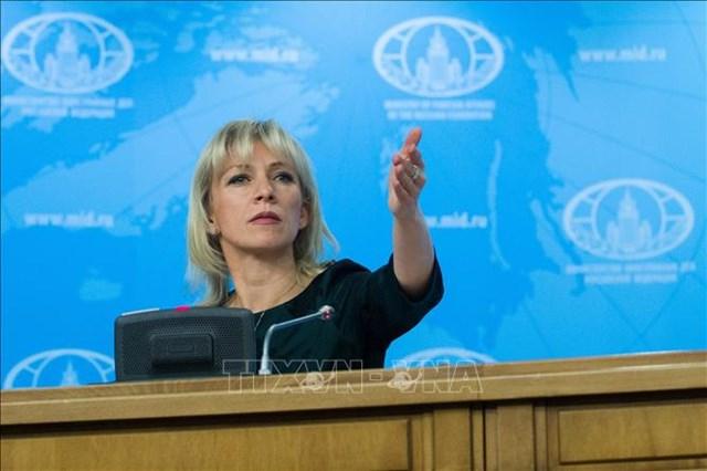 Người phát ngôn Bộ Ngoại giao Nga, bà Maria Zakharova tại cuộc họp báo ở Moskva. Ảnh: THX/TTXVN.