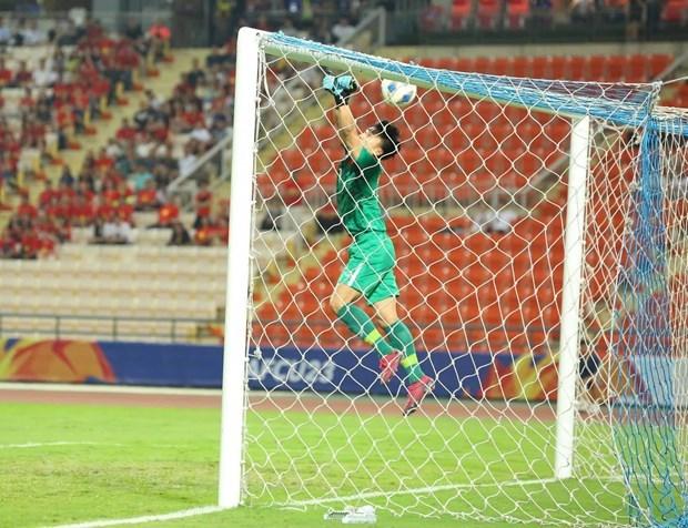 Thủ môn Bùi Tiến Dũng mắc lỗi trong trận đấu quan trọng của U23 Việt Nam với U23 Triều Tiên ở vòng chung kết U23 châu Á 2020. (Ảnh: Nguyên An/Vietnam+).