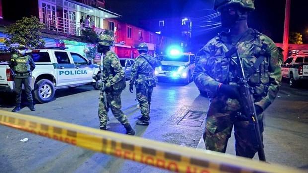 Cảnh sát Colombia tại hiện trường vụ bạo lực. Ảnh: Telemetro.