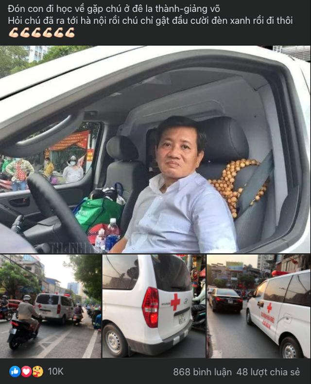 """Bài chia sẻ hình ảnh ông Đoàn Ngọc Hải cùng xe cứu thương có mặt tại Hà Nội đã thu hút hơn 10.000 lượt """"like"""" trên một diễn đàn xe."""