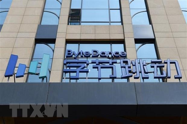 Biểu tượng công ty ByteDance tại trụ sở ở Bắc Kinh, Trung Quốc. (Ảnh: AFP/TTXVN).