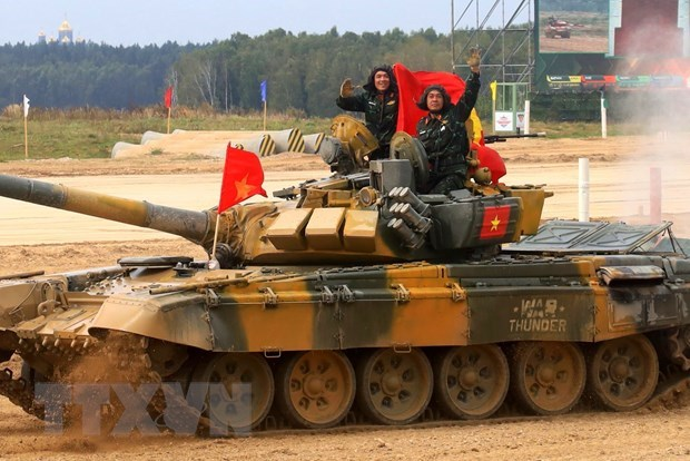 Đội tuyển xe tăng Việt Nam giành chiến thắng vang dội. (Ảnh: Trần Hiếu/TTXVN).