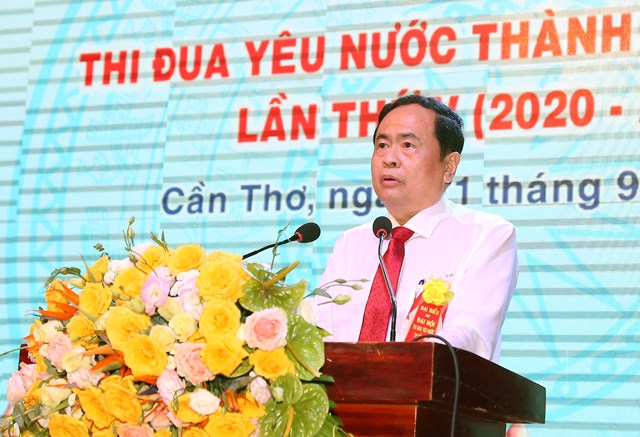Chủ tịch Trần Thanh Mẫn phát biểu chỉ đạo Đại hội. Ảnh:Quốc Trung.