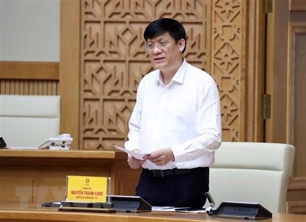 Quyền Bộ trưởng Bộ Y tế Nguyễn Thanh Long phát biểu. (Ảnh: Thống Nhất/TTXVN).