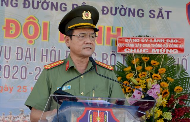 Giám đốc Công an TP HCM Lê Hồng Nam phát biểu tại lễ ra mắt đội hình nữ CSGT dẫn đoàn của Phòng CSGT đường bộ, đường sắt Công an TP HCM hồi tháng 8/2020.