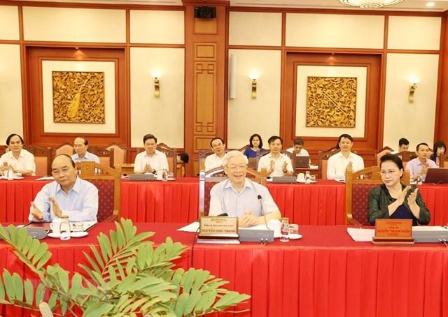 Hình ảnh Bộ Chính trị làm việc với các Đảng bộ trực thuộc Trung ương - Ảnh 1