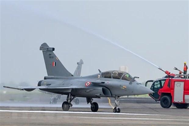 Máy bay Rafale của Pháp tại lễ bàn giao cho Không quân Ấn Độ ở Căn cứ Không quân Ambala ngày 10/9/2020. (Nguồn: AFP/TTXVN).