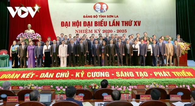 Ban chấp hành Đảng bộ tỉnh Sơn La khóa XV ra mắt Đại hội.